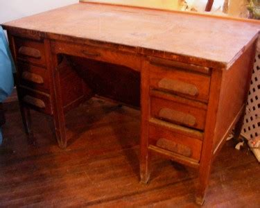 antique wood executive lg heavy desk by imperial desk co