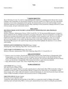 Sports Sle Resume by Marketing Objective