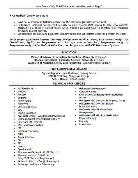 Application Analyst Resume