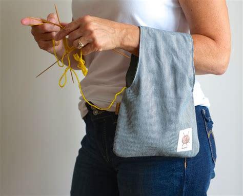 knitting project bag knitting bag project bag striped pouch wristlet