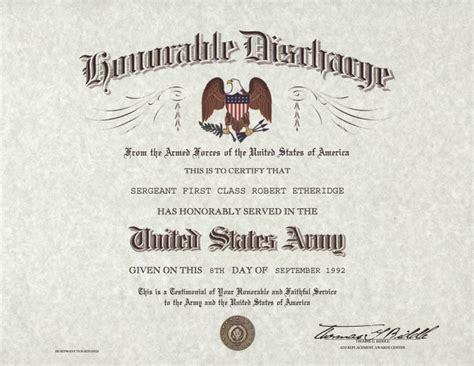 Honorable Discharge Certificate Template us army honorable discharge certificate