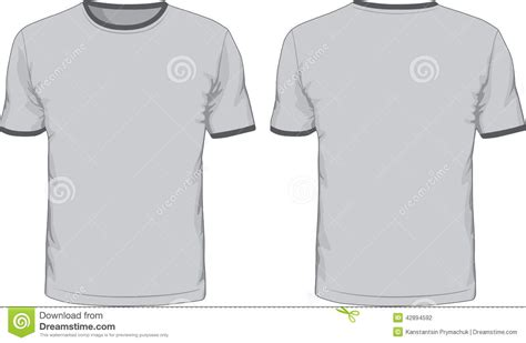 Kaos Ringer Polos Grey s t shirts template front and back views stock vector