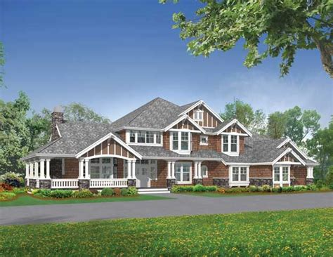 big porch house plans large 5 bedroom craftsman style home with charming roof