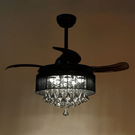 36 inch ceiling fan with light 36 inch modern led crystal chandelier black ceiling fan