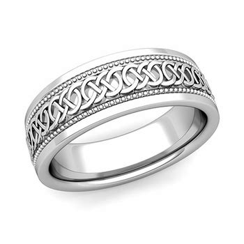 mens celtic knot wedding band in platinum milgrain comfort