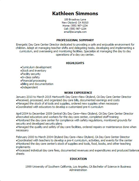 Resume Sles Child Care Professional Day Care Center Director Resume Templates To Showcase Your Talent Myperfectresume