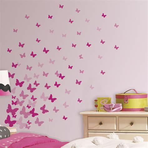 bilder kinderzimmer schmetterlinge wandsticker schmetterlinge rosa pink roommates kaufen