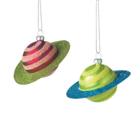 saturn planet christmas ornaments set of 2