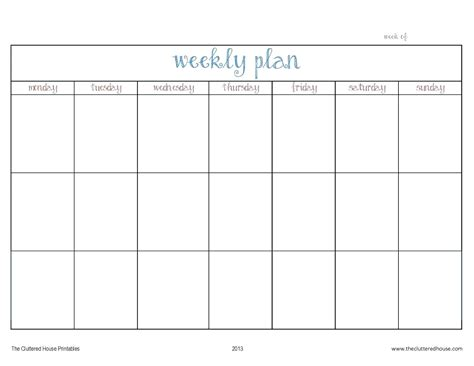 printable weekly planner monday thru friday attractive monday through friday template composition