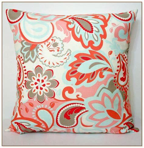 coral colored throw pillows