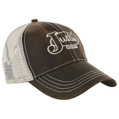 justin s embroidered trucker hat hats mens and womens trucker hats and leather