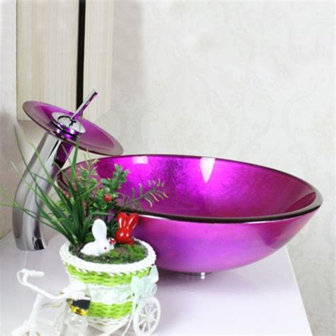 glass vessel sink with waterfall faucet faucets sink and faucet sets victory purple