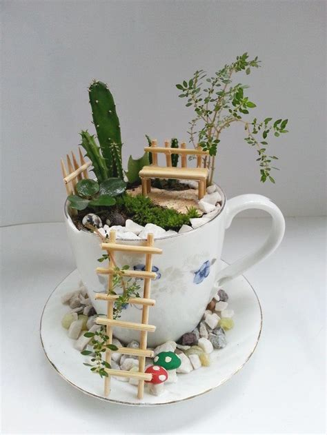 Teacup Garden by How To Make A Garden With Teacups Craft Projects