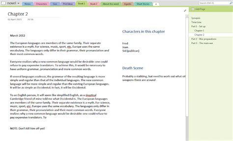 using onenote for your novel