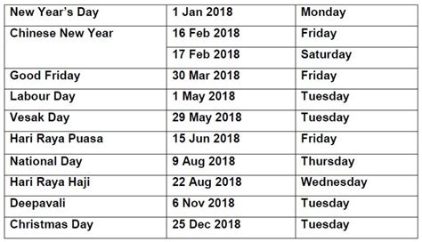 Calendar 2018 Showing Bank Holidays Holidays 4 Weekends For S Pore In Half