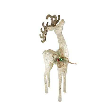 46 quot lighted sparkling sisal white reindeer christmas yard