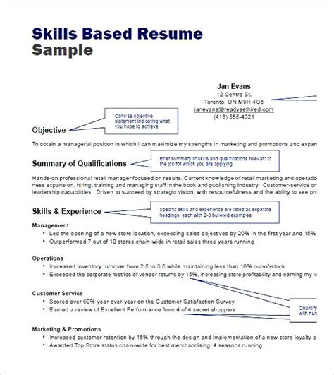 Handyman Resume Sample by Skills Based Resume Sample Pdf Free Samples Examples