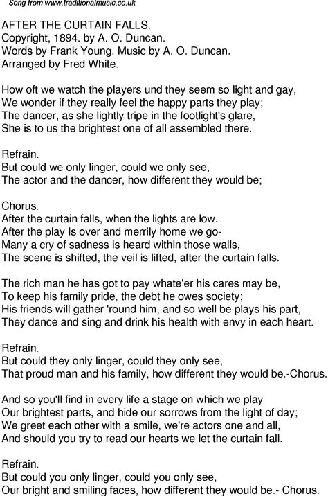 drapery falls lyrics old time song lyrics for 45 after the curtain falls