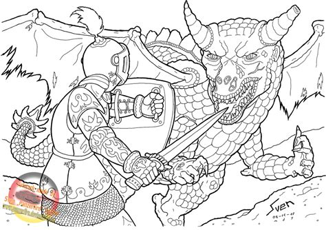 coloring pages of fighting knights the knight and the dragon by panzerfire on deviantart