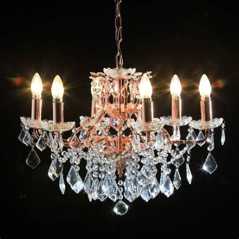 Antique French Cut Glass Copper And Gold Chandelier 6 Arm And Gold Chandelier