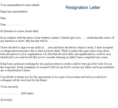 how to write a formal letter of resignation