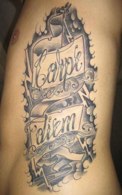 tattoo inscriptions latin side tattoo carpe diem styled inscription stormy sky