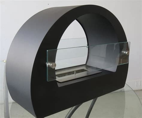quot chelsea black quot free standing ventless ethanol fireplace