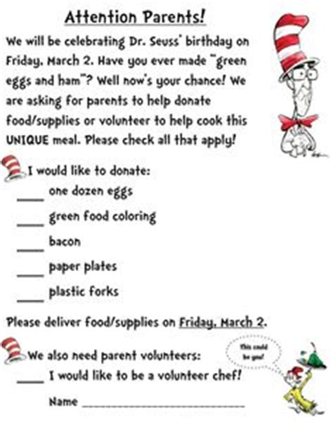 Parent Letter Requesting Supplies 1000 Images About Dr Seuss On Dr Seuss Green Eggs And Ham And Lorax