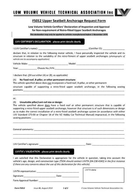 seat anchorage fs012 seatbelt anchorage request form nzta vehicle