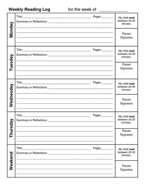 printable daily reading log with parent signature weekly reading log with summary reading pinterest