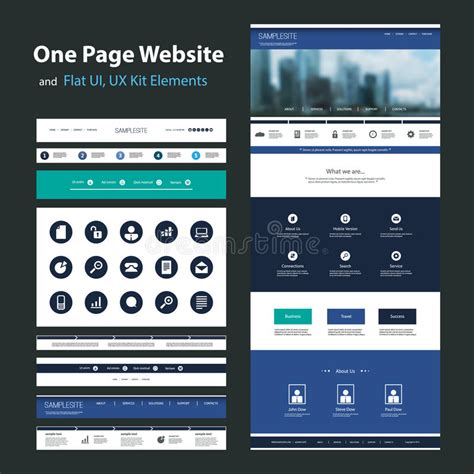One Page Website Design Template And Flat Ui Ux Elements Stock Vector Illustration Of Banner Ux Website Templates