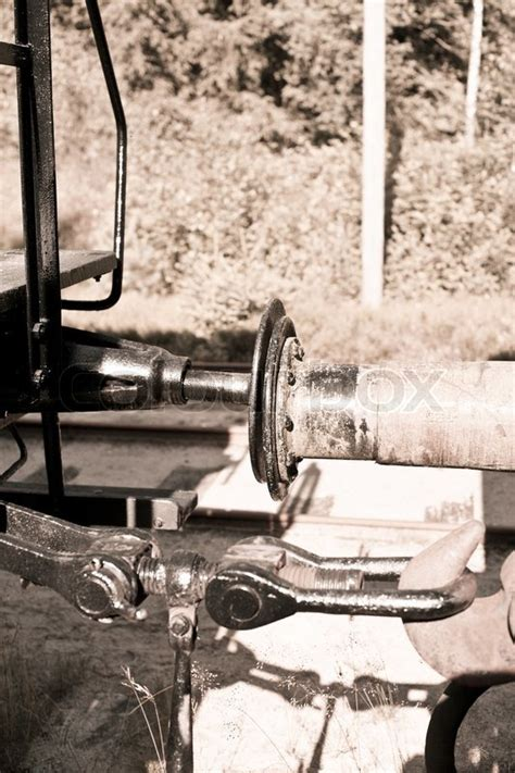 Pclc 0366fczz Sharp Transport Magnetic Clutch connecting wagons in sepia color stock photo
