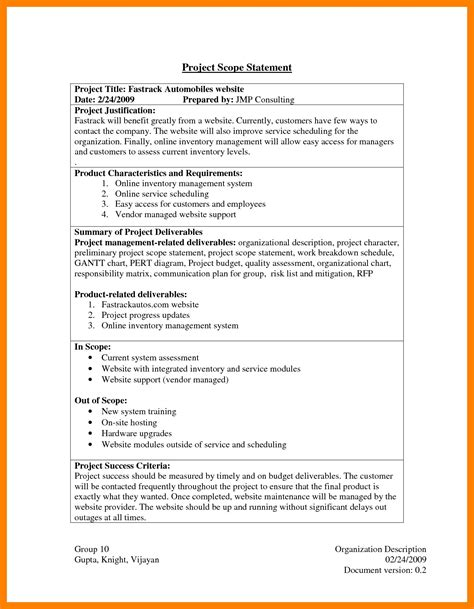 Inspiration 8 Exle Of Project Scope Statement Techmech Co Fresh 8 Writing A Statement Of Project Scope Of Work Template
