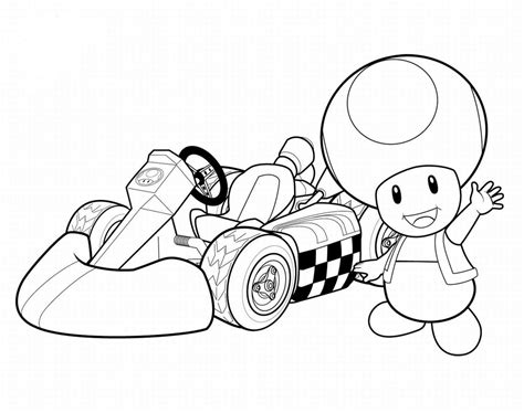 little mushroom in race car child coloring