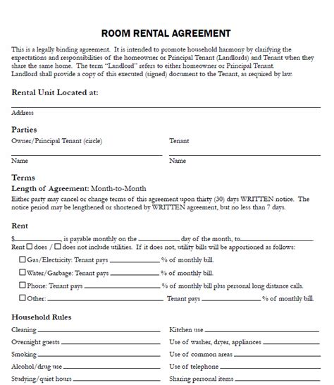 printable lease agreement nc printable sle free printable rental agreements form