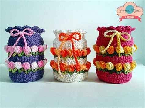 vidros decorados em croche graficos croch 234 gr 225 fico capa para potes de vidro potes