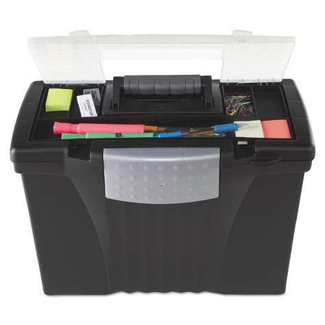 Portable Storage Box portable file storage box w organizer lid by storex