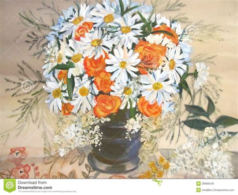 fiori nella pittura camomille e fiori arancio nella pittura vaso