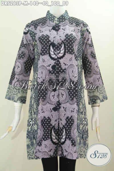 Pakaian Terusan Wanita Grey Print Dress Size L 416967 baju dress batik terusan buatan pakaian batik elegan