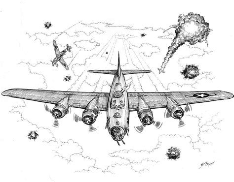 B 17 Sketches by B 17 Bomber Coloring Pages Coloring Pages