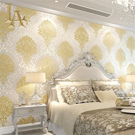 gold glitter wallpaper for walls classic european embossed gold glitter damask wallpaper