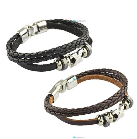 Handmade Mens Leather Cuff Bracelets - fashion korean style handmade unisex s wrap wrist