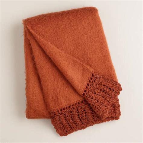 rust colored throw blanket rust crochet faux mohair throw world market