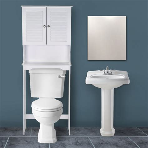 Bathroom Standing Shelves Adeco White Free Standing Bathroom Shelving With A Door Ba0010