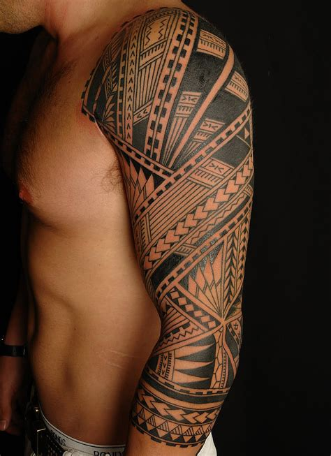 amazing black ink tribal on left sleeve