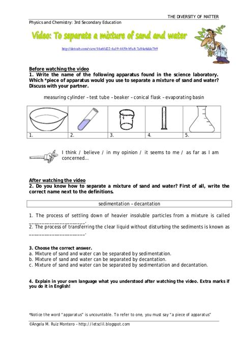 Chemistry Separation Techniques Worksheet by Separation Of Water And Sand
