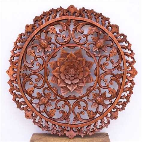 19intraditional bali lotus flower carved wooden wall panel architectural ebay