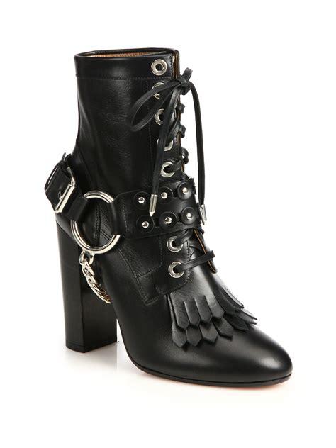 rockstar boots for lyst aquazzura rockstar leather harness boots in black