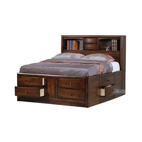 bed with bookshelf coaster walnut storage bookcase bed in warm brown finish