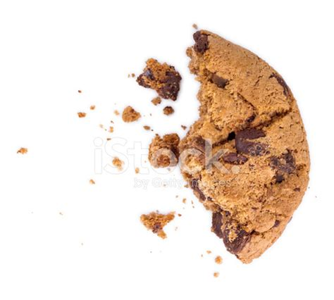 chocolate chip cookie with a bite taken out and crumbs